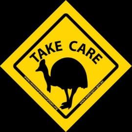 'Take Care' Cassowary Stickers